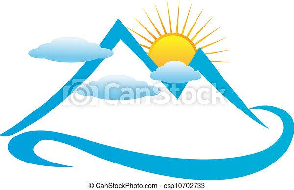 El logotipo azul de las montañas - csp10702733