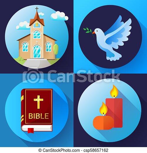 Los iconos de la religión marcan vectores de color de diseño plano ilustración vectorial. Paloma azul, iglesia vieja, velas y libros de Biblia - csp58657162