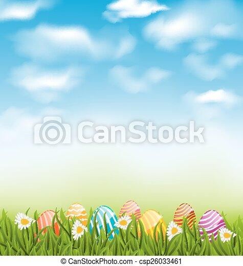 Paisaje natural de Pascua con huevos pintados tradicionalmente en prados de hierba, cielo azul y nubes - csp26033461