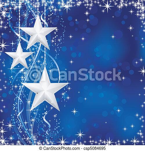 Antecedentes de Navidad e invierno con estrellas, copos de nieve y líneas onduladas de fondo azul con puntos luminosos para sus festivos ocasiones. Sin transparencias. - csp5084695