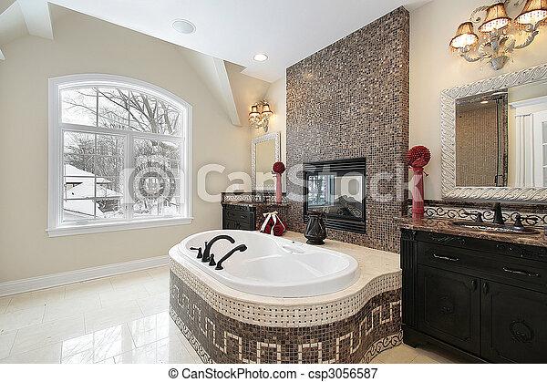 Baño maestro con tina de mármol - csp3056587