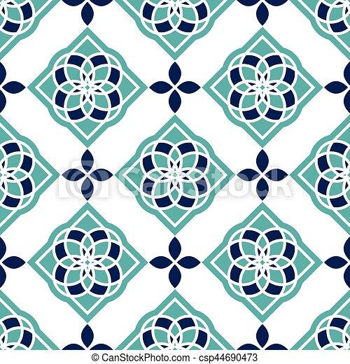 Azulejos portugués. Patrones azules y blancos preciosos sin costura. - csp44690473