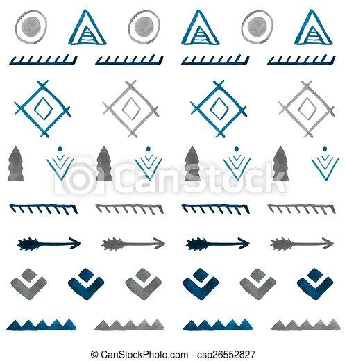 Patrón étnico acuarela sin costura. A mano dibujado tribal B abstracto - csp26552827