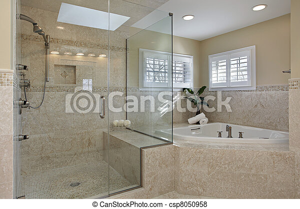 Baño maestro con ducha de cristal - csp8050958