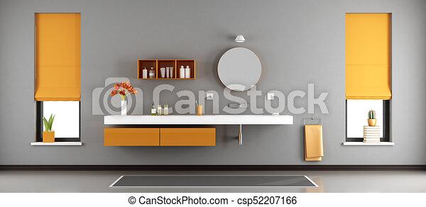 Baño moderno con lavabo - csp52207166