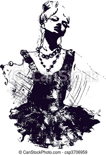 Ilustración de bailarina - csp3706959