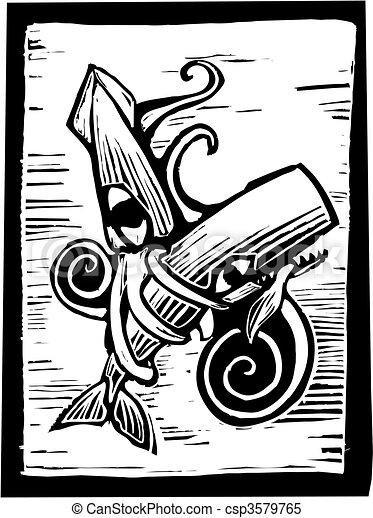 Ballena y calamar - csp3579765