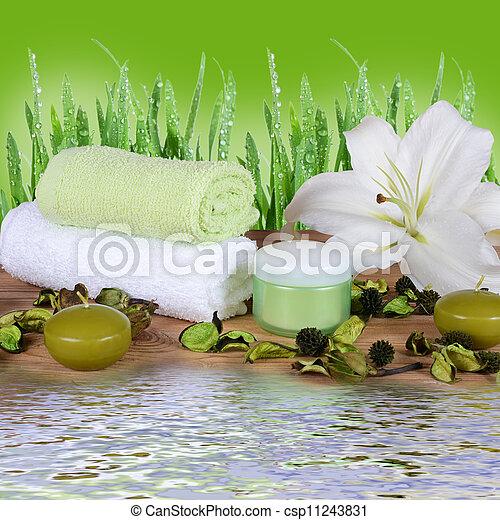 Procedimientos de spa en alfombra de bambú - csp11243831