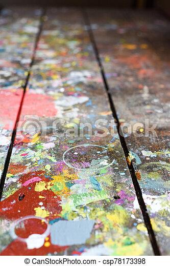 banco, construido, cubierto, artistas, salpico, arriba, auténtico, superficie, estudio, pintura, taller, pintado, textura, o - csp78173398