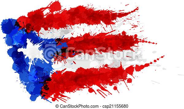 Bandera de Puerto Rico hecha de salpicaduras coloridas - csp21155680