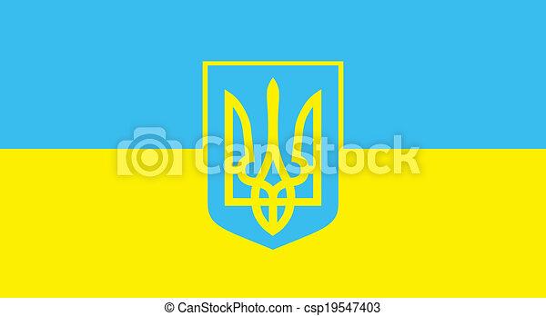 Bandera De Vector Ucrania Bandera Azul Y Amarilla De Ucrania Con Tridente Canstock