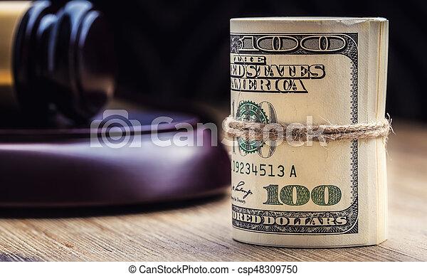 bandera, martillo, billetes banco., soborno, todavía, fondo., justicia, estados unidos de américa, dólares, arrollado, martillo, judicial, gavel., vida, billetes de banco, nosotros, sistema, tribunal, juez, corrupción - csp48309750