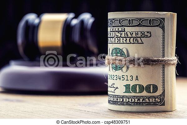 bandera, martillo, billetes banco., soborno, todavía, fondo., justicia, estados unidos de américa, dólares, arrollado, martillo, judicial, gavel., vida, billetes de banco, nosotros, sistema, tribunal, juez, corrupción - csp48309751