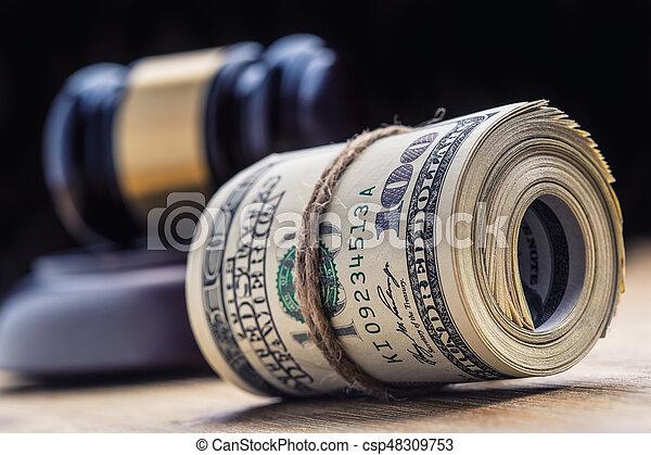 bandera, martillo, billetes banco., soborno, todavía, fondo., justicia, estados unidos de américa, dólares, arrollado, martillo, judicial, gavel., vida, billetes de banco, nosotros, sistema, tribunal, juez, corrupción - csp48309753