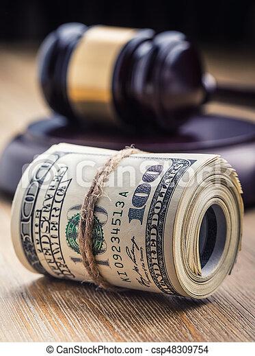 bandera, martillo, billetes banco., soborno, todavía, fondo., justicia, estados unidos de américa, dólares, arrollado, martillo, judicial, gavel., vida, billetes de banco, nosotros, sistema, tribunal, juez, corrupción - csp48309754