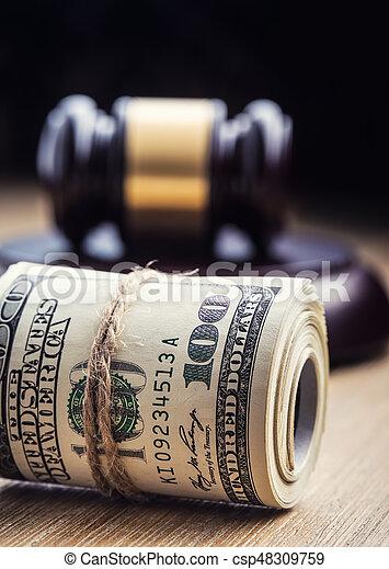 bandera, martillo, billetes banco., soborno, todavía, fondo., justicia, estados unidos de américa, dólares, arrollado, martillo, judicial, gavel., vida, billetes de banco, nosotros, sistema, tribunal, juez, corrupción - csp48309759