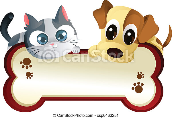 Perro y gato con estandarte - csp6463251