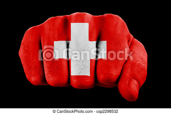 Puño con bandera suiza - csp2298532