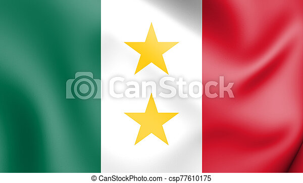 bandera, y, coahuila, illustration., 3d, mexico., tejas, (1824-1835) - csp77610175