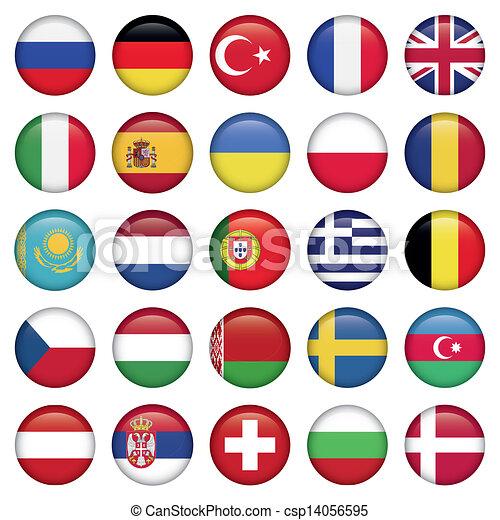 Los iconos europeos rodean banderas - csp14056595