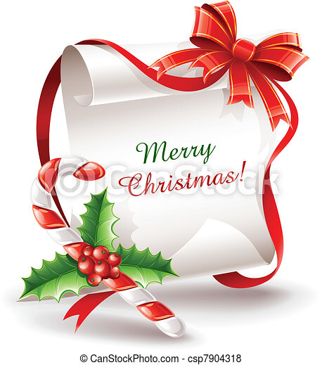 Una tarjeta de Navidad con bastón de caramelo - csp7904318