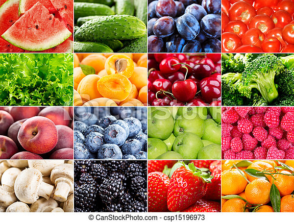 Frutas, bayas, hierbas y verduras - csp15196973