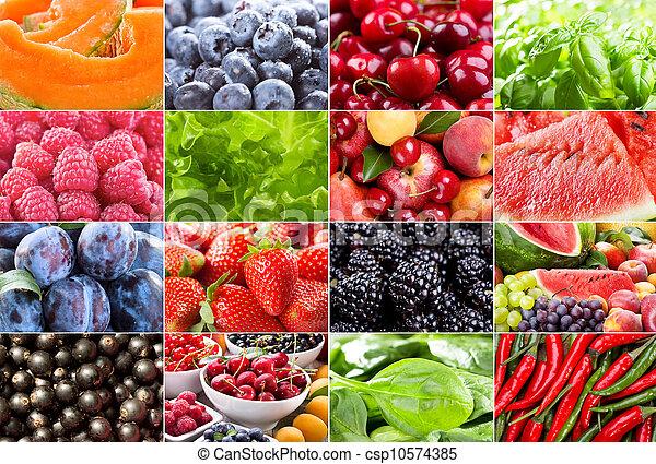 Frutas, bayas, hierbas y verduras - csp10574385