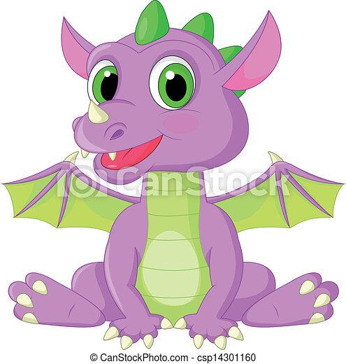 Bonita caricatura del bebé dragón - csp14301160
