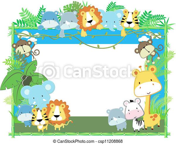 Animales bebés enmarcan el vector - csp11208868