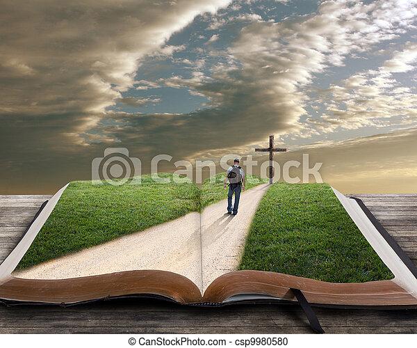 Abre la Biblia con el hombre y cruza - csp9980580