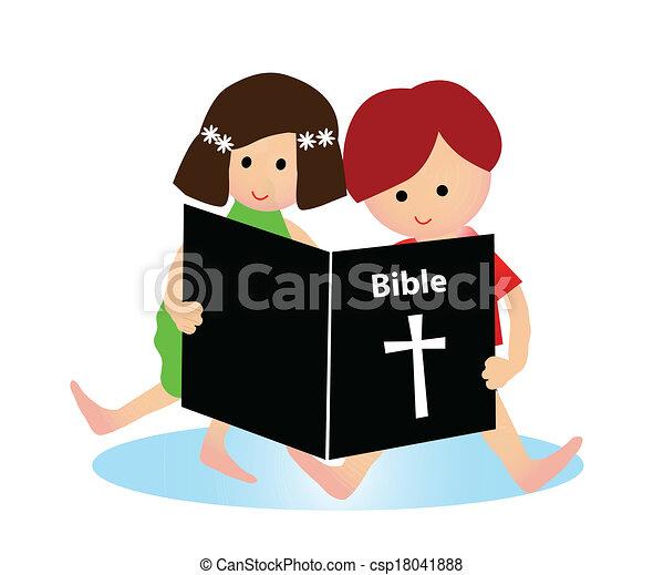 Niños leyendo la Biblia - csp18041888