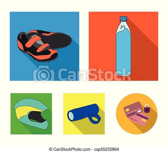 Una botella de agua, zapatillas, una linterna para una bicicleta, un casco protector. Un equipo de ciclistas pone iconos de colección en vectores planos simbolos de ilustración de acciones. - csp55232864