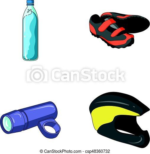 Una botella de agua, zapatillas, una linterna para una bicicleta, un casco protector. Un equipo de ciclistas puso iconos de colección en la web de ilustración de vectores de dibujos animados. - csp48360732