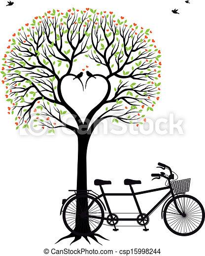 Corazón con pájaros y bicicleta - csp15998244