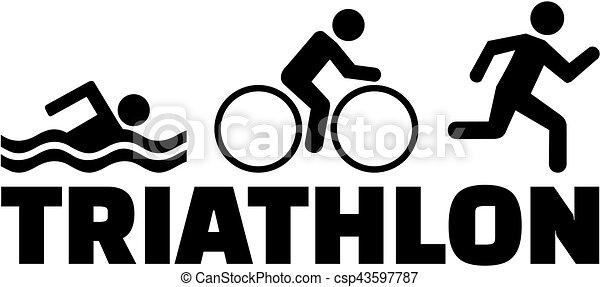 Bicicleta de natación Triatlon corriendo pictograma - csp43597787