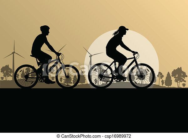 Los ciclistas activos hacen ciclistas en bicicleta en el campo, paisajes de fondo vector de ilustración - csp16989972