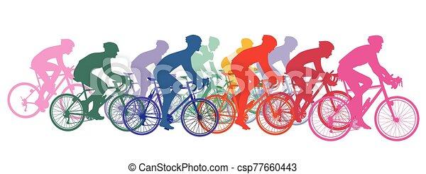 bicicletas, carreras, ciclistas, grupo, ciclismo - csp77660443