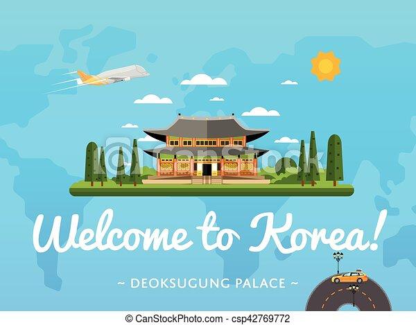 Bienvenidos al póster de Corea con una famosa atracción - csp42769772