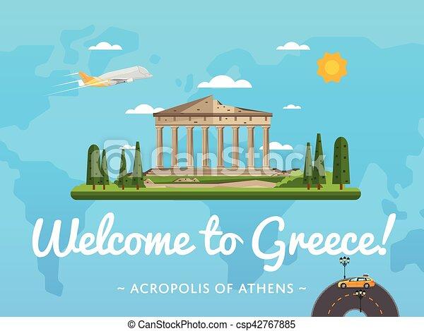 Bienvenidos al póster de Grecia con famosa atracción - csp42767885