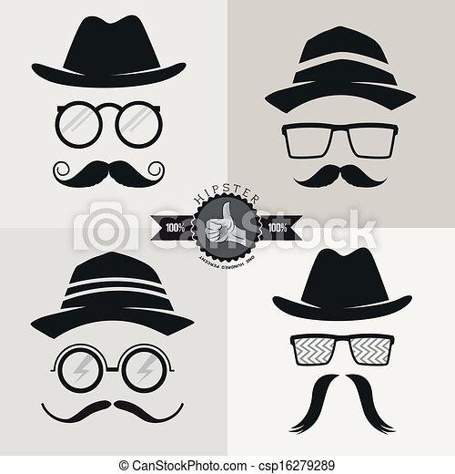Gafas, sombreros y bigotes - csp16279289