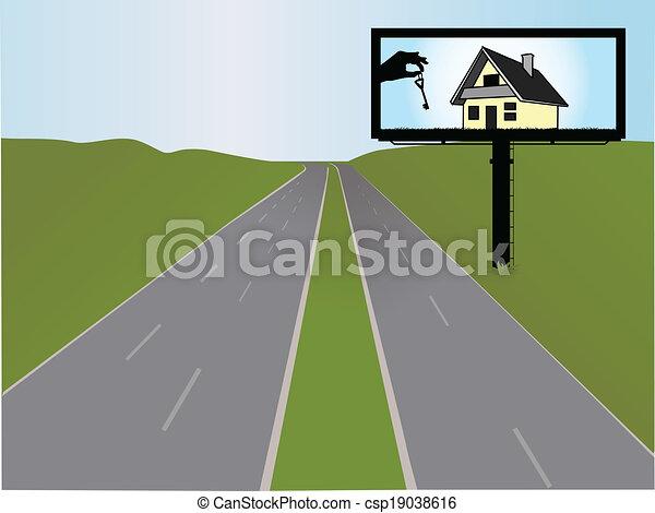 Billboard en la autopista, ilustración vectorial - csp19038616