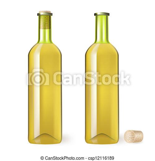 Una botella de vino blanco - csp12116189