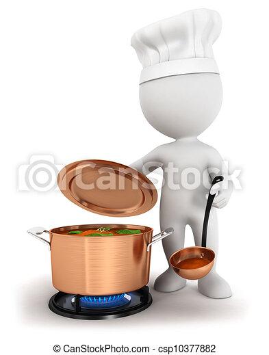 3 blancos cocinando - csp10377882