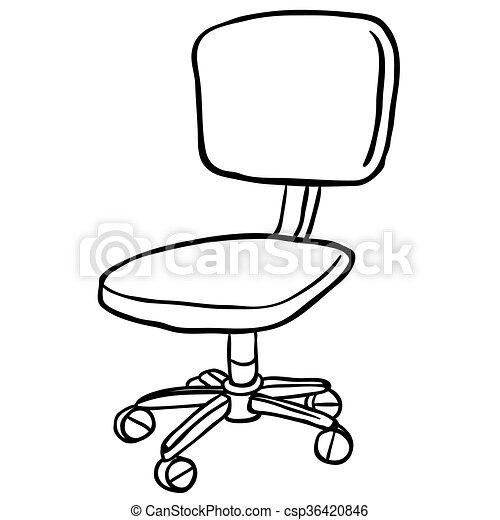 Una silla de computadora en blanco y negro - csp36420846