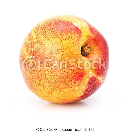 Fruta de durazno natural aislada en blanco - csp4154382