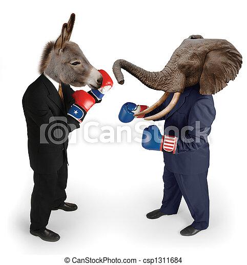 Demócrata contra republicano en blanco - csp1311684