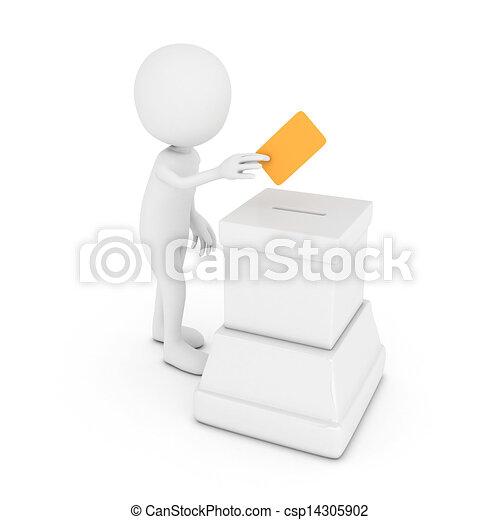 Hombre blanco 3D haciendo una votación - csp14305902