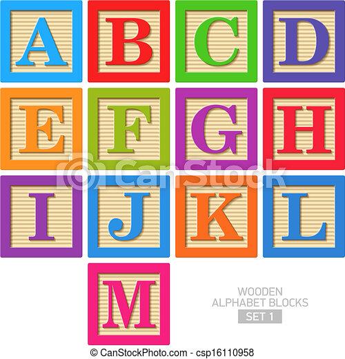 Bloques de alfabeto de madera - csp16110958