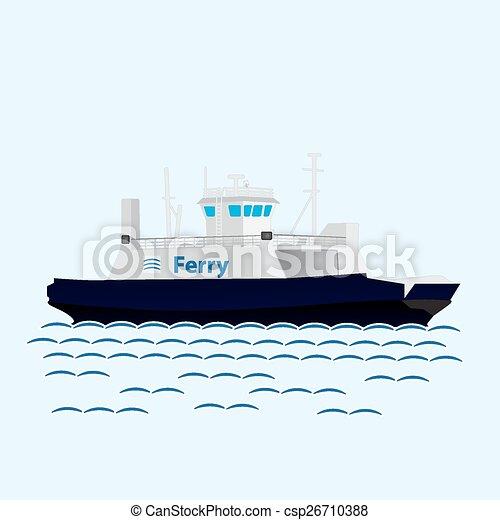Barco de ferry del tren marino. Un barco grande - csp26710388