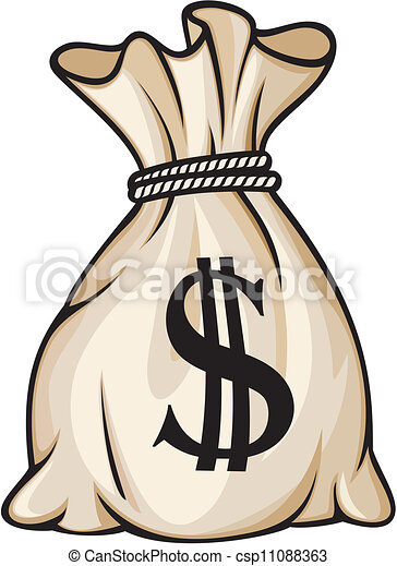 Bolsa de dinero con signo de dólar - csp11088363